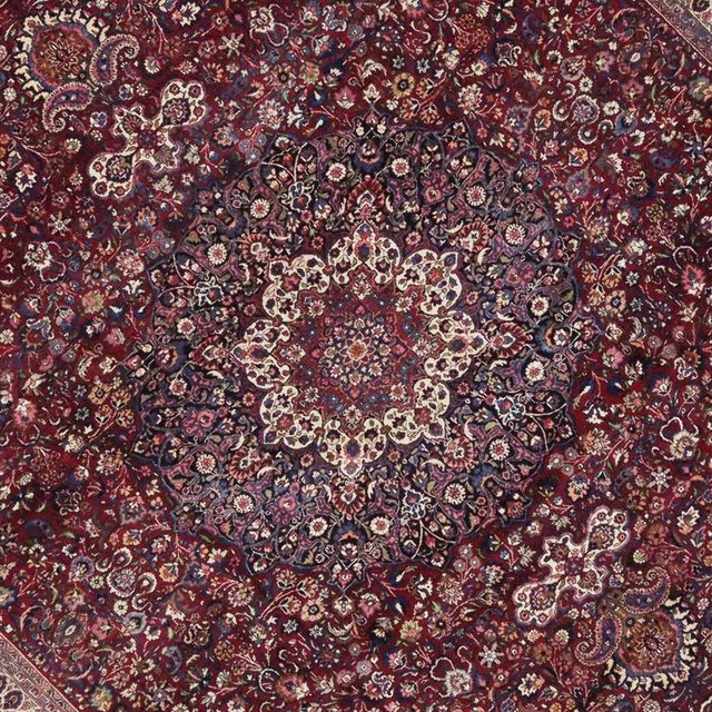 Antique Persian Mashad Rug with Art Nouveau Style For Sale - Image 5 of 9