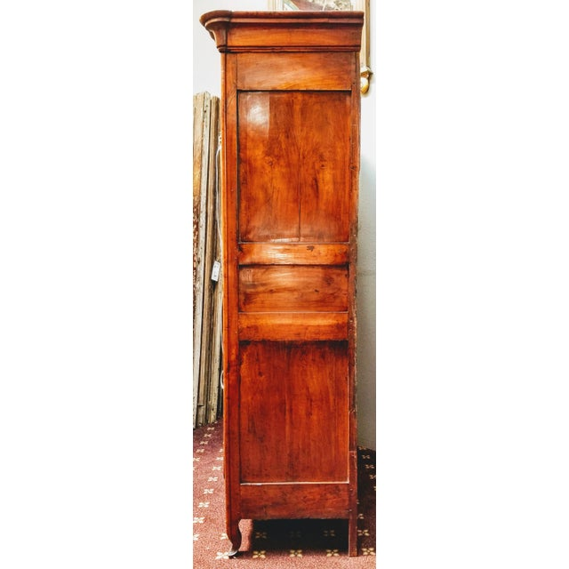18th Century Louis XV French Armoire De Mariage With Carved Flower Accents Cherry Wood For Sale - Image 12 of 13