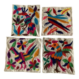 Set of 4 Mexican Otomi Embroidered Napkins For Sale