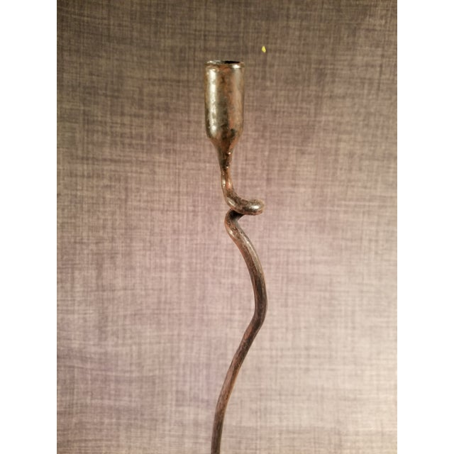 Mid-Century Modern Brutalist Wrought Iron Candle Holders - A Pair - Image 2 of 8
