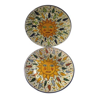 Mexican Talavera Pottery Sun Display Plates - a Pair For Sale