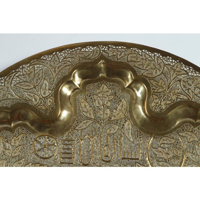 Mid Century Anglo Raj Hanging Hammered Polished Brass Tray For Sale In Los Angeles - Image 6 of 8