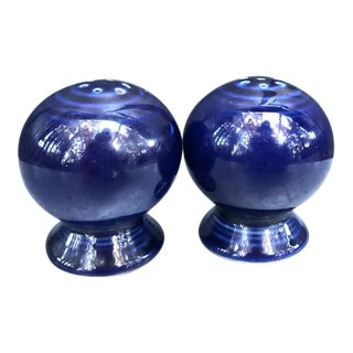 Fiestaware Blue Round Salt & Pepper Shakers - a Pair For Sale