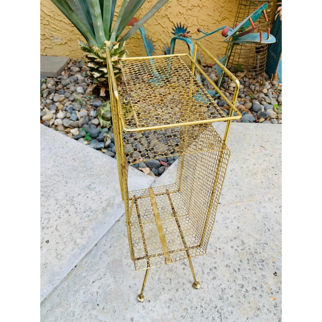1960s Atomic Modern Mid Century Modern Brass Phone Stand 1950s Googie Gold Retro Telephone Table Duchin Galef Style For Sale - Image 5 of 9