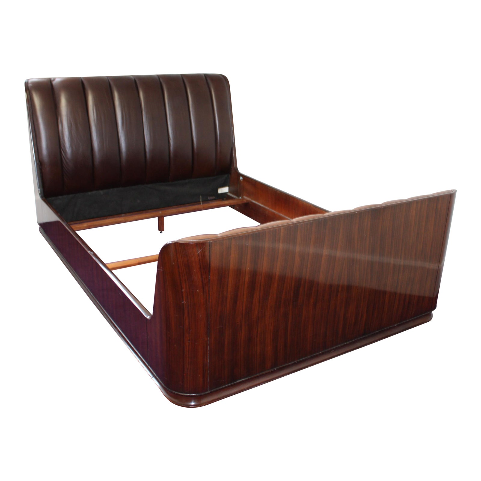 Modern Metropolitan Ralph Lauren Macassar Ebony & Brown Leather Queen