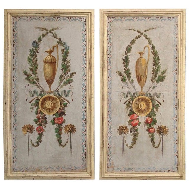 Pair of Antique Painted Canvas Window Panels For Sale - Image 13 of 13