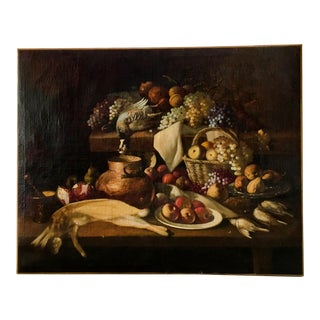 17th Century Antique Large Dutch Still Life With Fruit and Game Oil on Canvas Painting For Sale