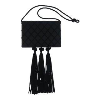 1980's Victor Costa Black Satin Evening Handbag With Tassels For Sale