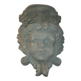 Art Nouveau Cherub's Face Pocket Wall Sconce Shelf For Sale