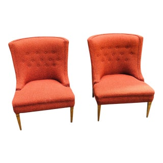 Mid-Century Modern Burnt Orange Chairs - a Pair For Sale