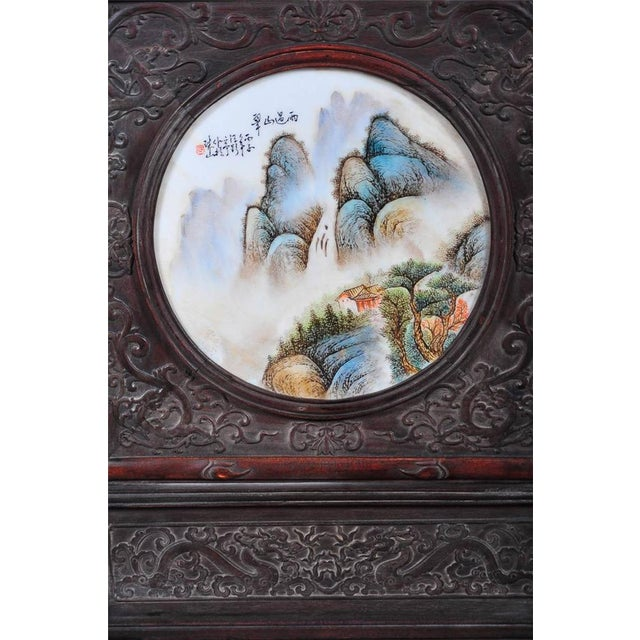 Chinoiserie Pair of Chinese Large Circular Porcelain Hand Painted Panels For Sale - Image 3 of 9