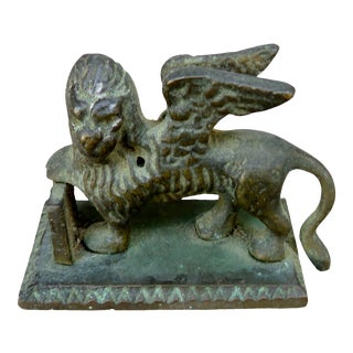 Vintage Mythical Bronze Figural Winged Assyrian Creature Paperweight For Sale