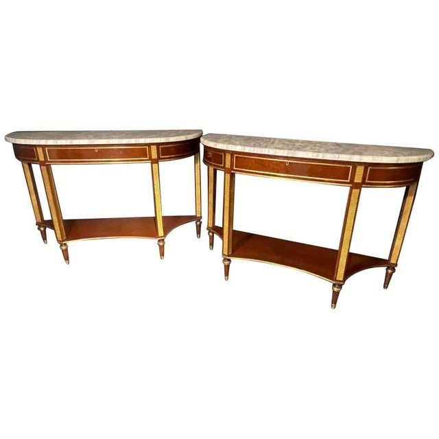 Pair of Russian Neoclassical Consoles / Sofa Tables or Sideboards, Demilune For Sale - Image 13 of 13