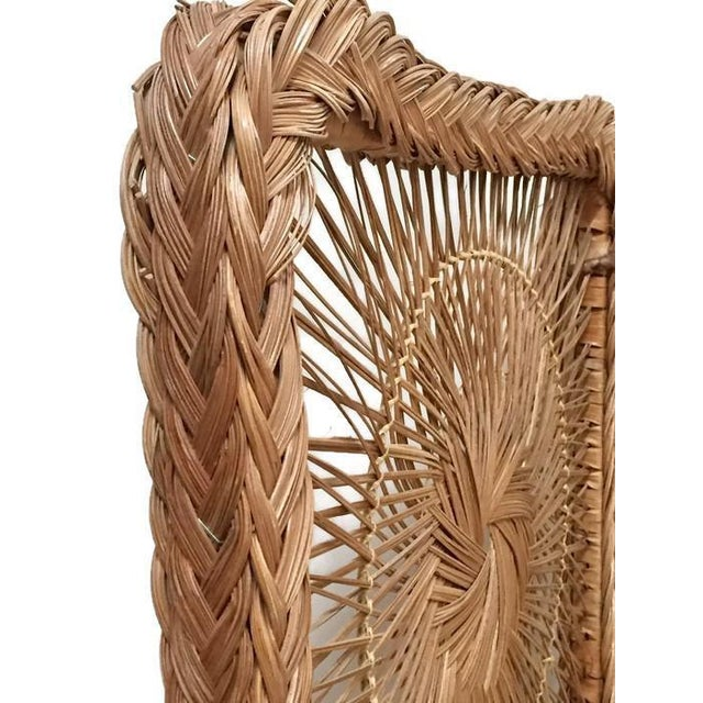 1960s Mid Century Modern Rattan Folding Screen 3 Panel Room Divider Boho Headboard For Sale - Image 5 of 11
