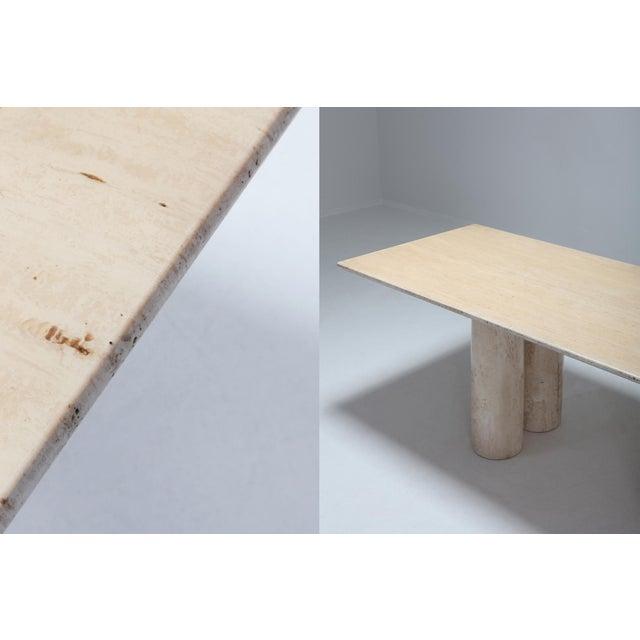 Stone Travertine Dining Table by Mario Bellini 'Il Colonnato' For Sale - Image 7 of 11