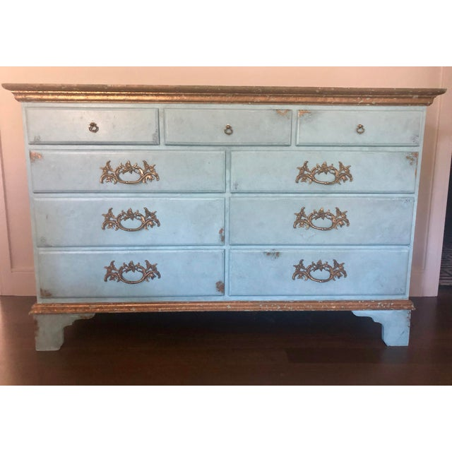 Vintage Blue Faux Painted Large Chest of Drawers Dresser For Sale - Image 13 of 13