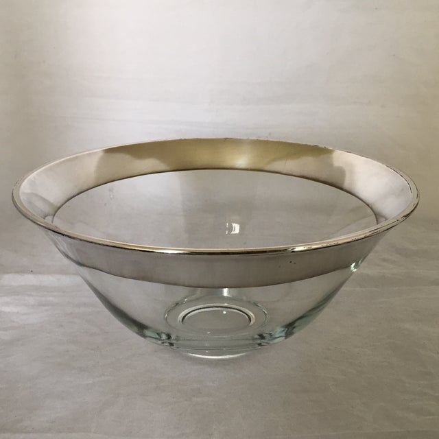 Large mid-century Dorothy Thorpe glass bowl with trademark silver banded rim. Please note - some minor silver loss along...