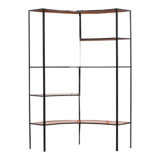 Vintage 1960s Orange and Black Iron Etagere For Sale