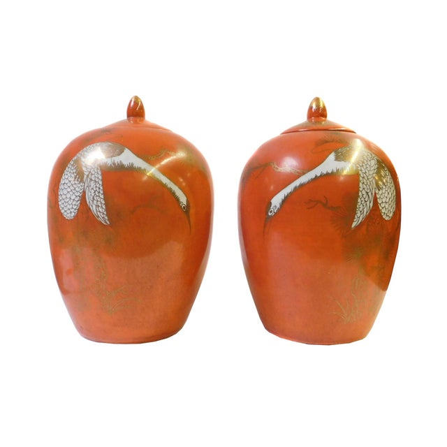 Chinese Orange Cranes Porcelain Oval Jars - Pair - Image 1 of 5