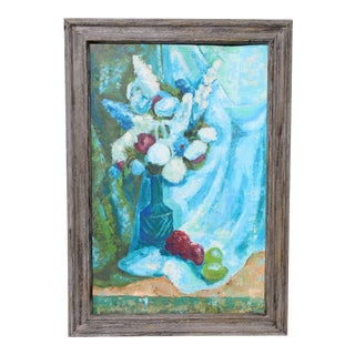 20th Century Blue Floral Still Life Oil Painting For Sale