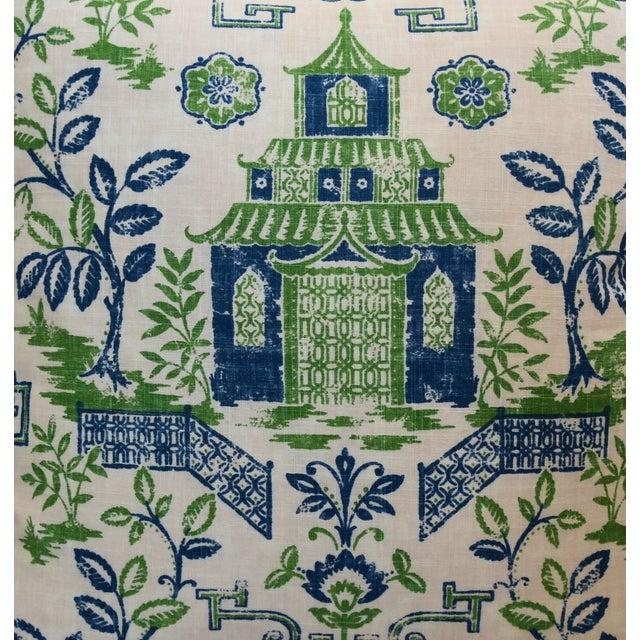 """Adirondack Chinoiserie Blue, Green & White Pagoda Linen & Velvet Pillow 26"""" Square For Sale - Image 3 of 6"""