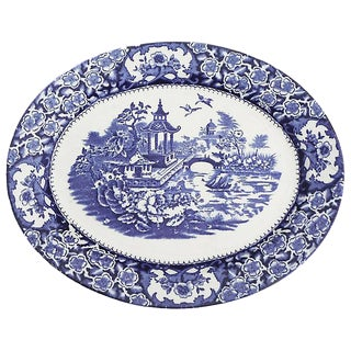 English Blue & White Chinoiserie Platter For Sale
