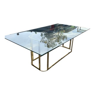 Hollywood Regency Milo Baughman Brass + Glass Dining Table For Sale