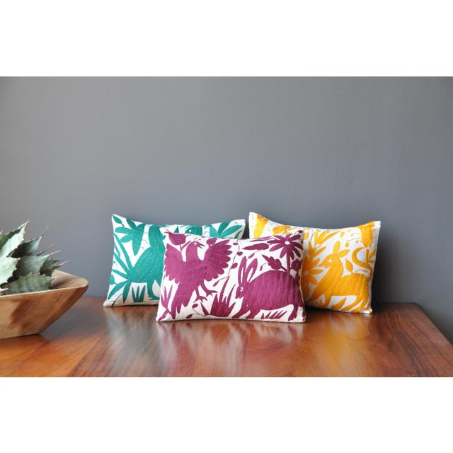 Otomi Embroidered Pillow in Wine - Image 4 of 4