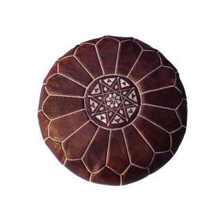 Modern Brown Moroccan Pouf For Sale