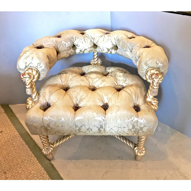 Gold Leaf Napoleon III-Style Gilt Rope Carved Chair in Diamond Tufting by Kelly Wearstler For Sale - Image 7 of 7