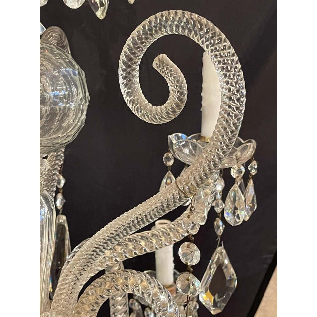 Fine Cut Crystal Venetian Style Chandelier For Sale - Image 9 of 13