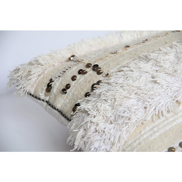 Boho Chic Vintage Moroccan Wedding Handira Pillow For Sale - Image 3 of 6