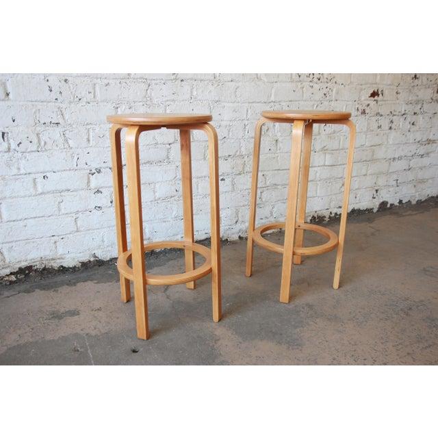 Alvar Aalto for Artek Bentwood Bar Stools - a Pair For Sale - Image 5 of 9