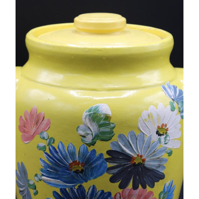 1930s Vintage Yellow Hand Painted Floral Pottery Jar For Sale - Image 5 of 13