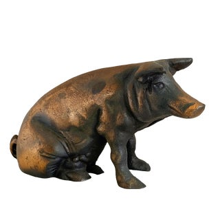 Chicago Stockyards Pig Heavy Cast Iron With Copper Wash Piggy Bank For Sale