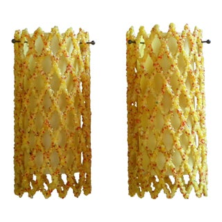 1960s Vintage Resin & Acrylic Lattice Pendants - A Pair For Sale
