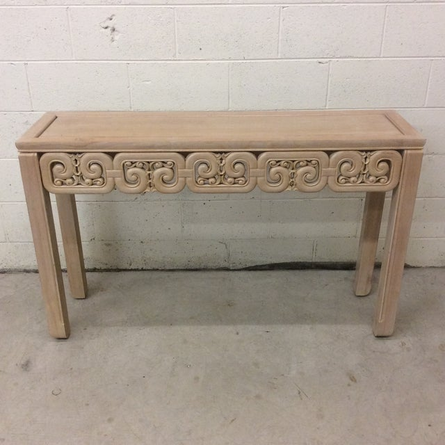 Asian Style White Wash Wood Carved Console Table For Sale - Image 12 of 12