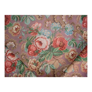 Lee Jofa Isabella Purple Jacobean Floral Print Upholstery Fabric - 13 1/2 Yards For Sale