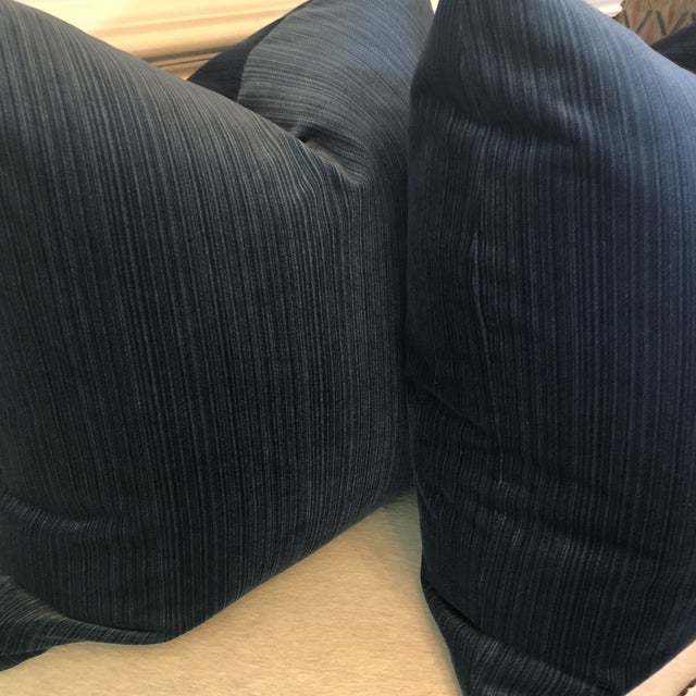 """Traditional Agean Blue Stripe Velvet 22"""" Pillows-A Pair For Sale - Image 3 of 6"""