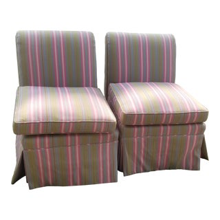 70's Watermelon Slipper Chairs / Pair For Sale