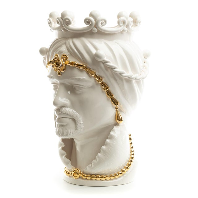 DESCRIPTION Schittone Moorish Regina Head is Gigante with decorated 24 karat gold painted crown, and is handmade and...