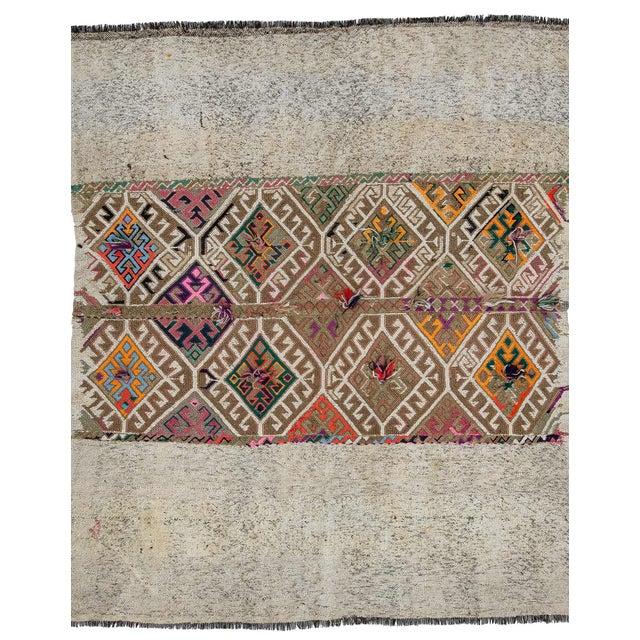 Textile Vintage Decorative Kilim Rug- 5′1″ × 5′9″ For Sale - Image 7 of 7
