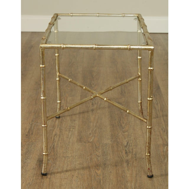 Hollywood Regency 1960's Silver Gilt Metal Faux Bamboo Glass Top Side Table For Sale - Image 4 of 11