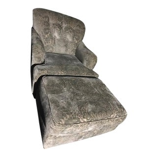 Kravet Furniture Chenille Club Chair & Ottoman