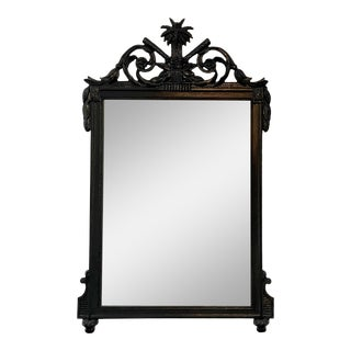 Antique Regency Style Black Paint Decorated Mirror For Sale