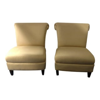 1990s Mid-Century Modern Gold Slipper Chairs - a Pair