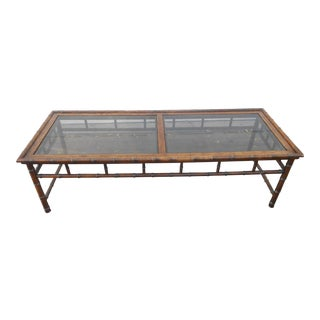 Vintage 1960s Chippendale Solid Oak Faux Bamboo Coffee Table W Smoke Glass Top For Sale