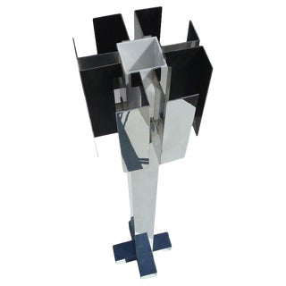 Italian Cubist Aluminum Standing Floor Lamp For Sale