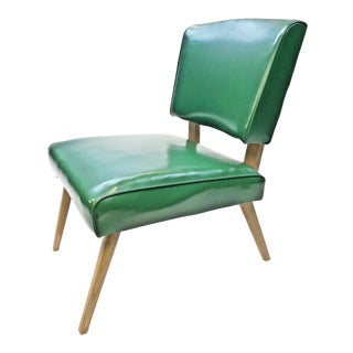 Mid Century Modern Green Vinyl Slipper Chair by Viking Artline