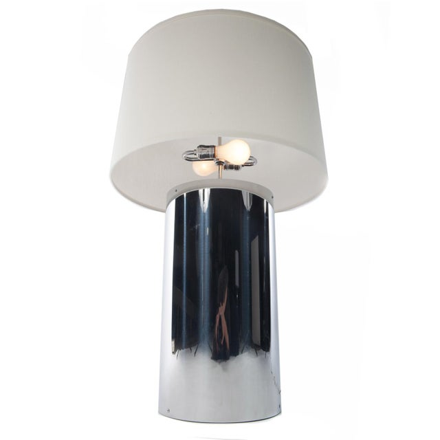 Mid-Century Modern Pair of Large Chrome Cylinder Lamps by George Kovacs, Circa 1970s For Sale - Image 3 of 10